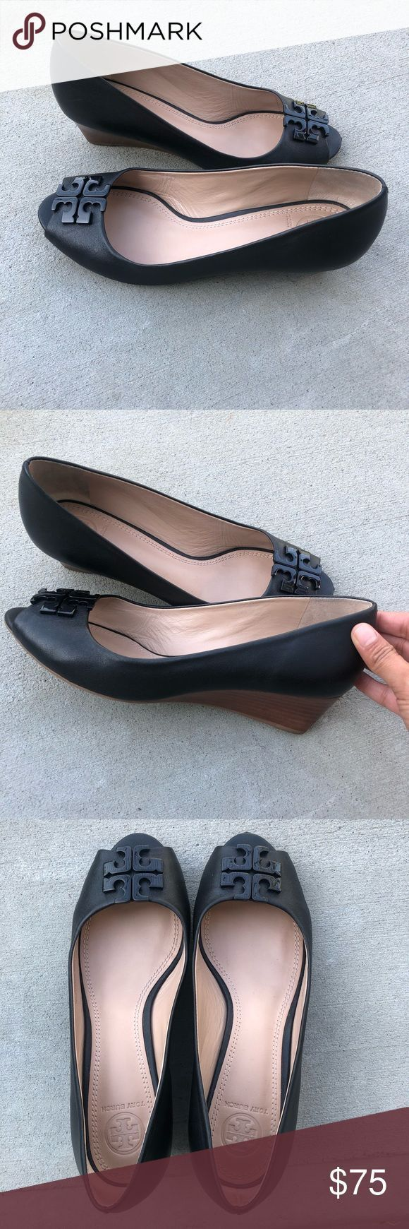 Tory Burch peep toe black wedges These wedges have only been worn three times an…