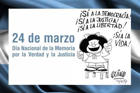 El día 24 de Marzo se conmemora en nuestro país el Día Nacional de la Memoria por la Verdad y la Justicia. http://www.yoespiritual.com/efemerides/24-de-marzo-dia-nacional-de-la-memoria.html