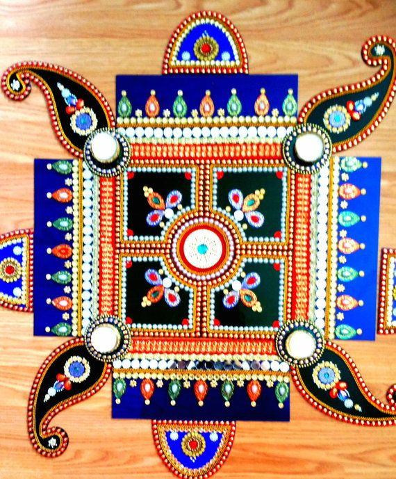 BIG Rangoli Traditional Dancing floor Kundan by JustForElegance