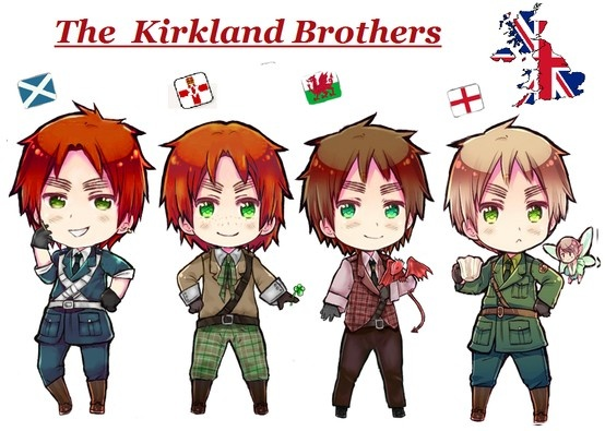 The Kirkland Brothers: Scotland, Ireland, Wales, and England. HOLY FLYING MINT BUNNY ON A POGO STICK IN THE WONDERLAND THAT IS HETALIA, THERE'S MORE THAN ONE BEAUTIFUL ENGLAND?!?!?!?!?!?!?