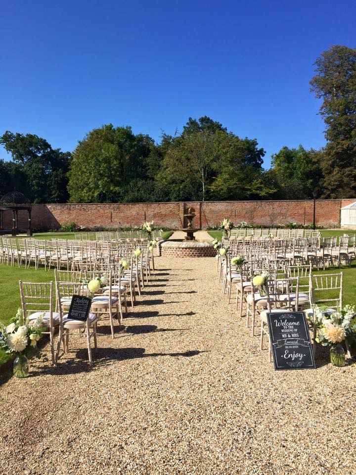Outdoor ceremony in The Walled Garden at Orchardleigh