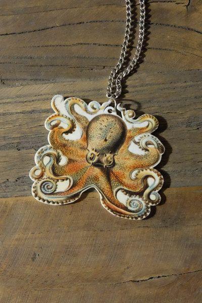 Handmade octopus necklace by Little Rat's Boutique. #handmade #octopus #sealife #animal #shrinkplastic #diy #etsy #necklace #jewellery #jewelry