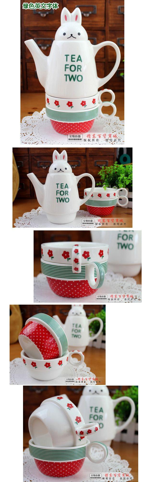 Acqua bottiglia di vetro per te` due conigli in ceramica set mug amanti tazza tazza di caffè