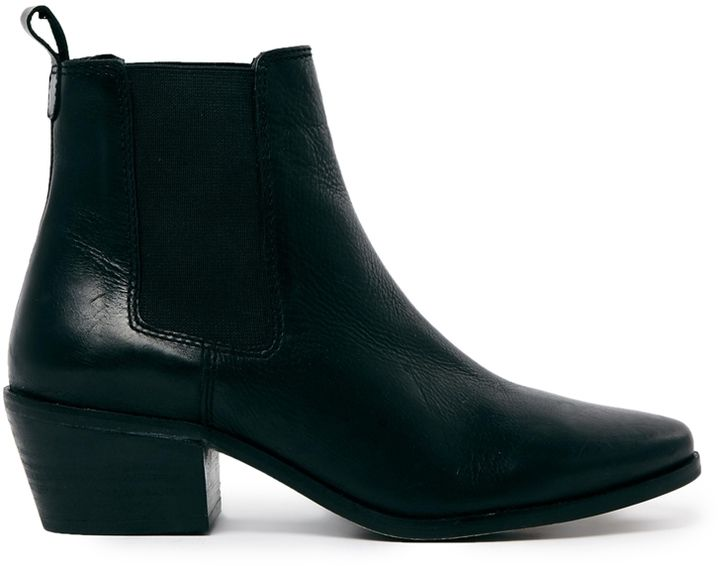 $161, Dune Peetra Black Pointed Chelsea Boots. Sold by Asos. Click for more info: https://lookastic.com/women/shop_items/311964/redirect