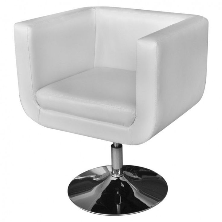 White Leather Chair Furniture Artificial Armchair Adjustable Modern Home Swivel