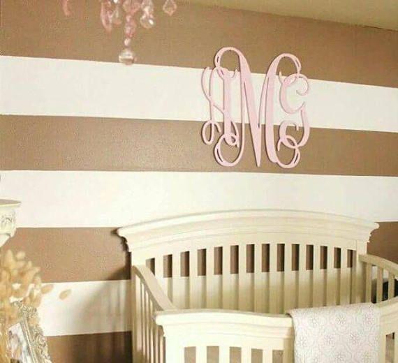 Wooden monogram wall hanging nursery decor