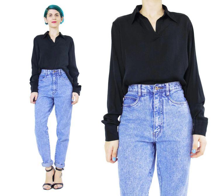 New to honeymoonmuse on Etsy: Black Silk Jersey Blouse Long Sleeve Silk Blouse Womens Black Silk Top Collared Silk Shirt Tunic Top Comfy Basic Minimalist Silk Top (S/M) (45.00 CAD)