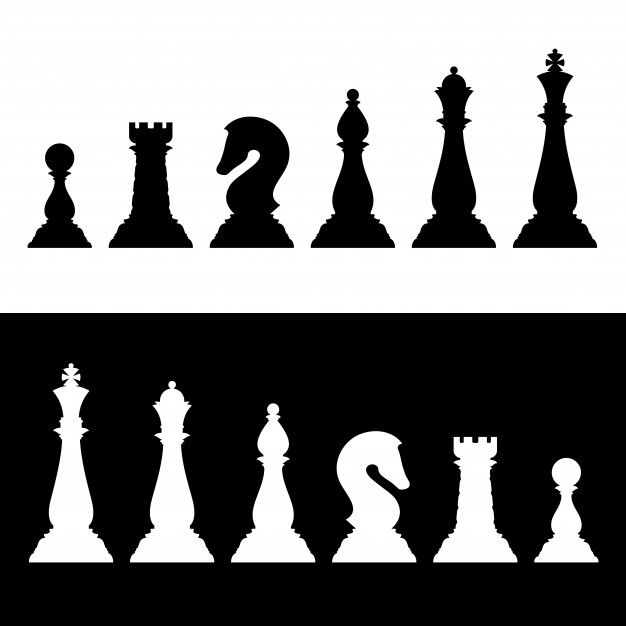 Chess Pieces Black Silhouettes Set Business Strategy Vector Icons In 2021 Black Silhouette Chess Vector Icons