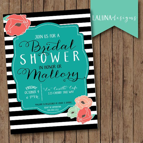 Rustic Bridal Shower Invitation, Floral Black & White Stripe Bridal Shower Invite, Stripes Baby Shower Invitation, DIY Printable