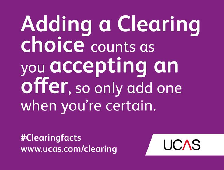 Adding a Clearing choice counts as you accepting an offer, so only add one when you're certain. #UCAS #Clearingfacts