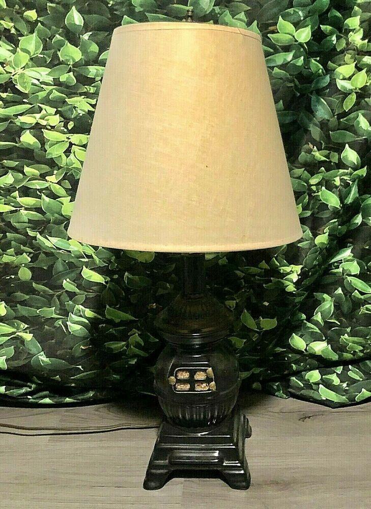 Vintage Pot Belly Stove Lamp Ceramic Black Original Shade Works Ebay In 2020 Pot Belly Stove Lamp Ebay Finds