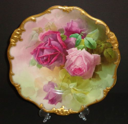 Antique Royal Doulton Plate 19th C Porcelain Hand Painted Roses Signed RARE 1897 | eBay