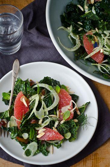 Grapefruit, Kale and fennel Salad - For more information visit: http://www.scalingbackblog.com/savory-bites/blissful-eats-grapefruit-kale-and-fennel-salad/