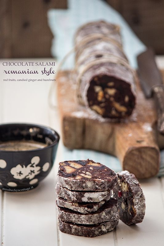 ... chocolate salami with red fruits, candied ginger and hazelnuts ...