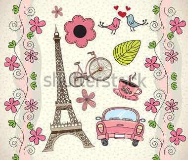 Amor París Fondo Con Diferentes Iconos Vector Illustration vectores en stock - Clipart.me