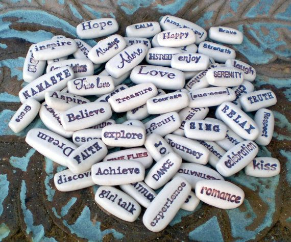 Pick any 6 pocket charms from the list below. They are great affirmation stones when you need inspirational quotes to make your day brighter.