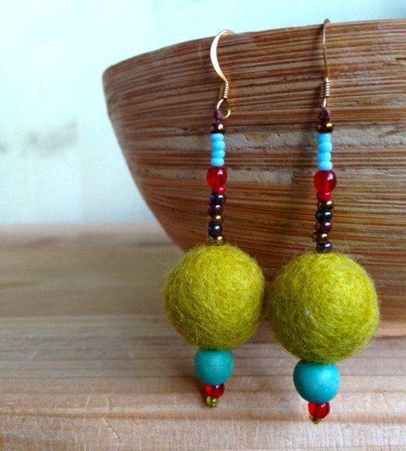 SALE  Felt lime green dangle earrings  Felt by Deliciousbits