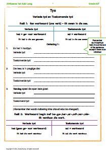 Hierdie werkkaart verduidelik die reëls van verlede tyd en toekomende tyd en verskaf oefeninge per reël en ook gemengde oefening.