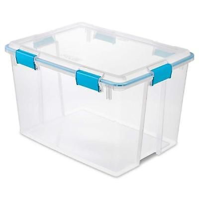 Clear Gasket Box Storage Container 80 Quart Clear Blue Plastic Lid 4 Pack Bin