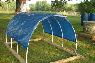 Portable PVC arch with tarp for shade