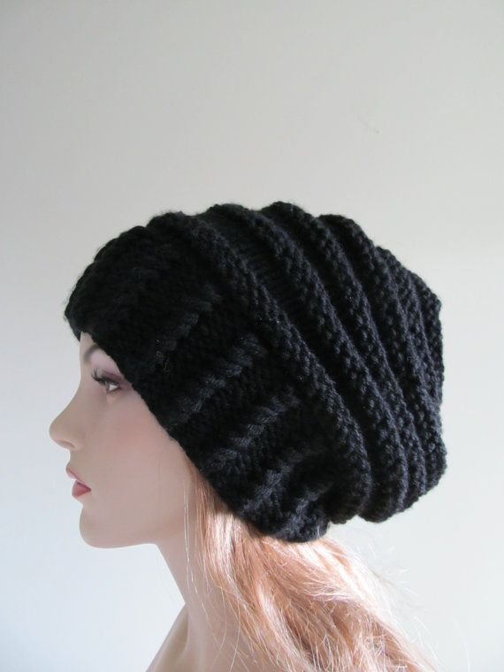 Slouchy Beanie Slouch Hats Oversized Baggy womens Fall Winter accessory Black Hand Made Knit