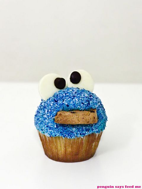 Cookie Monster Cupcakes 01 by penguin says feed me, via Flickr