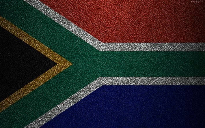 Download wallpapers Flag of South Africa, Africa, 4k, leather texture, South African flag, flags of African countries, South Africa