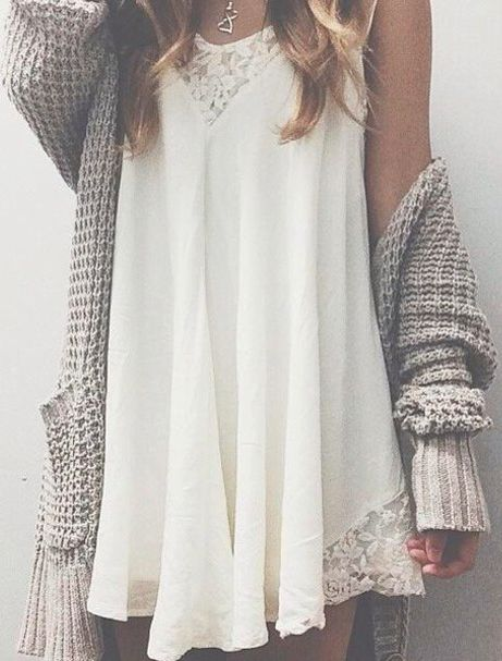 transition your summer slip dress into fall with an oversized knit    zazumi.com