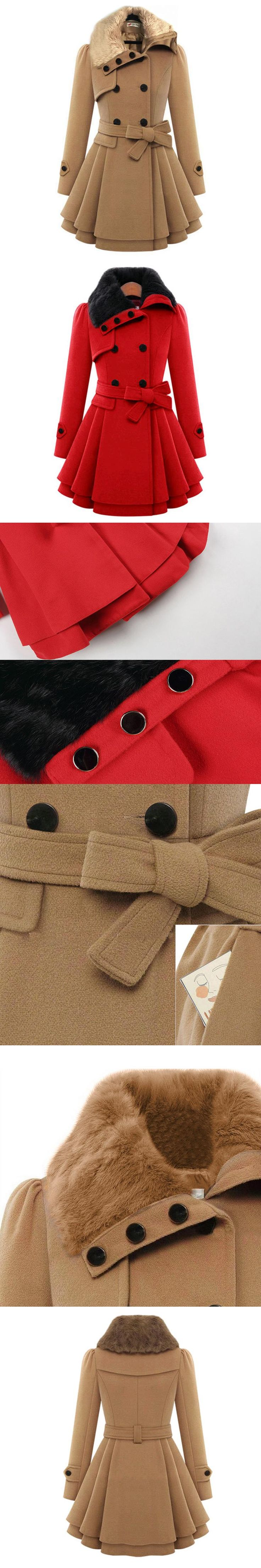 Winter Women Wool Coat 2016 Double-Breasted Button Lapel Pocket Multicolor Plus Size Long Sleeve Ladies Woolen Jacket