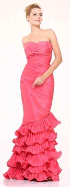 Strapless Sweetheart Coral Bridesmaid Dress Long Pleated Ruffle Layered Skirt