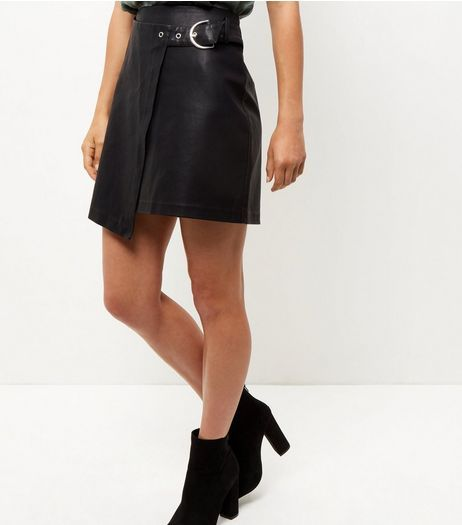 Black Leather-Look Belted Wrap Front Mini Skirt  | New Look