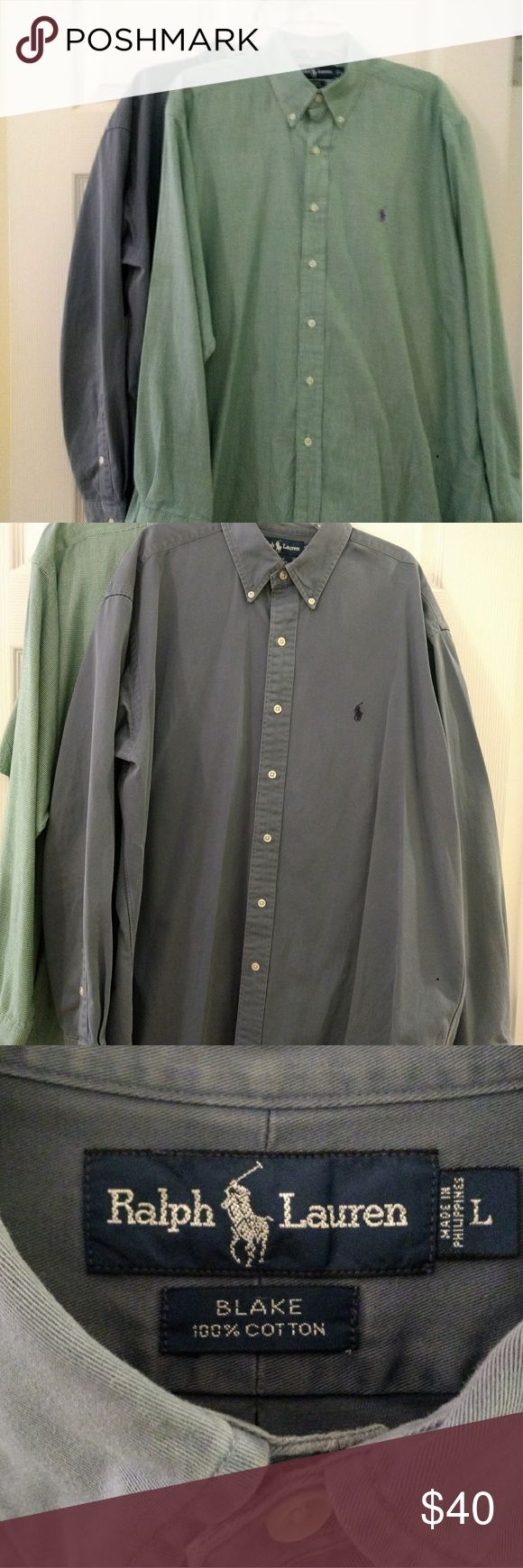 Polo Button-down Shirts- Size L This pair of Polo shirts have been gently worn and are in very good condition. The green herringbone shirt is light and perfect for spring! The slate blue shirt is a heavy cotton and will keep one warm in the cooler months. Polo by Ralph Lauren Shirts Dress Shirts