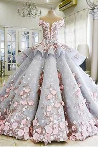 Pretty Light Blue Ball Gown Long Backless Wedding Gowns PM357