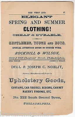 ROCKHILL & WILSON PHILA PA SUMMER CLOTHING DELL FURNITURE ANTIQUE ADVERTISING