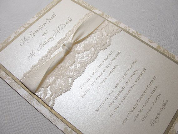 EMMALINE Beautiful Lace Wedding Invitations by LavenderPaperie1