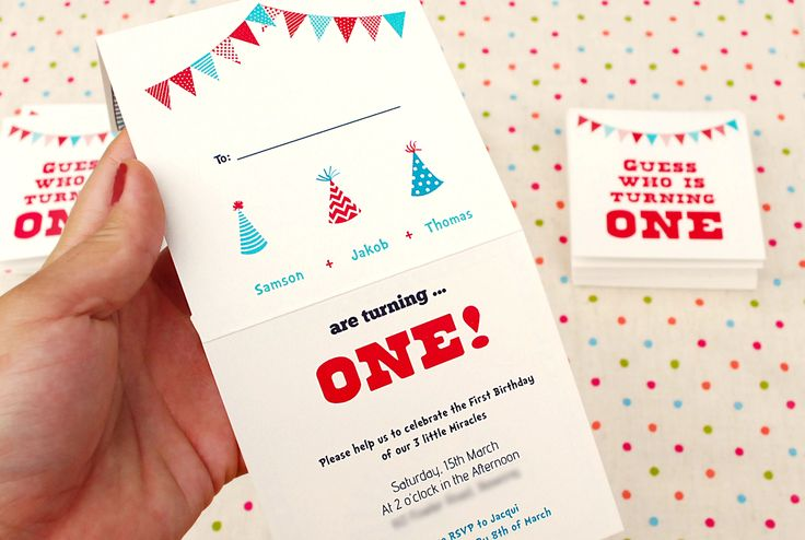 Guess Who's Turning ONE?  Triplets baby 1st Birthday party invitations. they are cute and colorful and makes you giggle. handmade and custom illustrated for 3 very special boys.   / design / illustration / one year old  / Birthday invitations / cute babies / you're invited / triplets / birthday