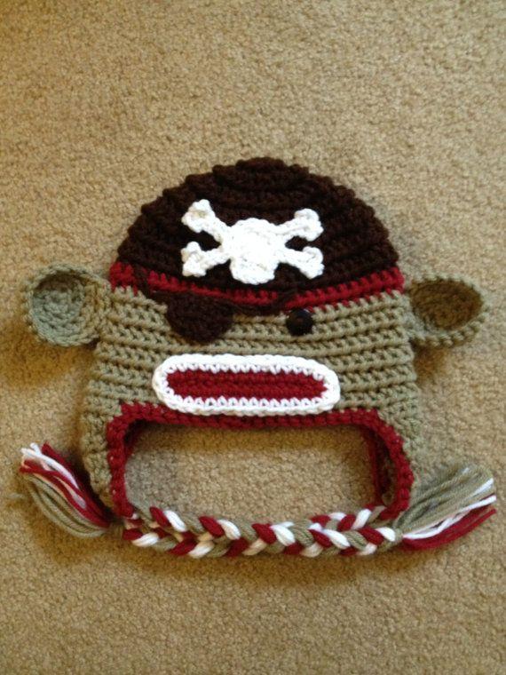 Crochet Pirate Sock Monkey Hat Baby Toddler Teen by beaniebird, $24.00