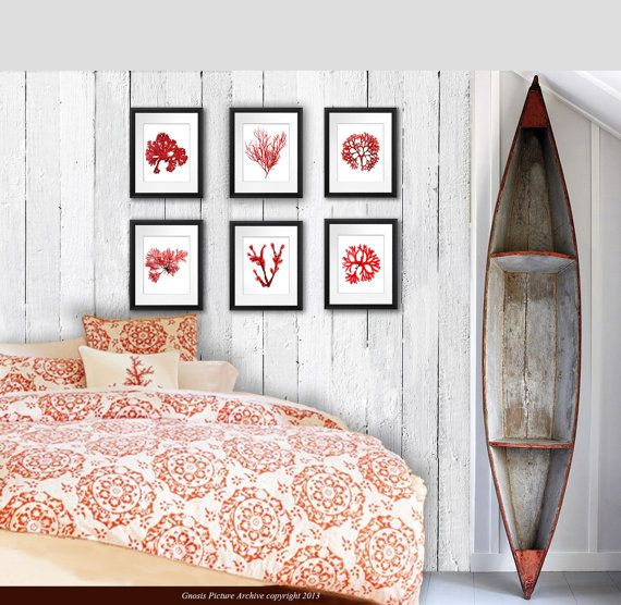 Red Seaweed Art Prints Set Of 6 Prints Bedroom Bathroom Beach C