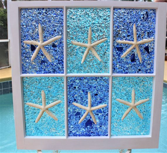 Vintage Window Art. Sea Glass Art Window. Beach House Décor. Beach Wall Art. Ocean Decor. Best Sea Glass Art Window. Beach Art. 2017 Decor Trend. A restored antique 6-pane window ideal for your coastal beach house décor. It is moisture resistant: you may place it in your patio area (as long as it is covered by a roof) or in your bathroom, and the moisture wont bother the artwork. Starfish protected with polyurethane; and sea glass items have been covered in UV protected epoxy resin. Vintage…
