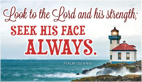 Look to the Lord and his strength. Seek his face always. Psalm 105:4