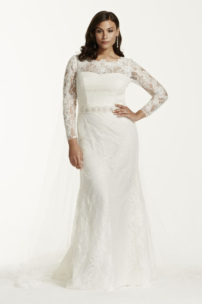 Plus size wedding dress extra length lace long sleeve for Plus size sheath wedding dress