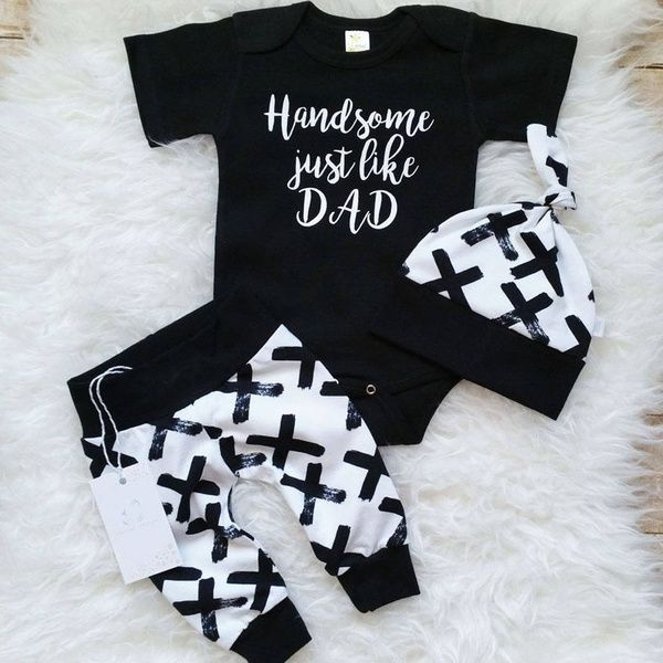 Newborn Kids Baby Boy 3PCS Letter Romper Bodysuit Pants Hat Outfits Clothes Set