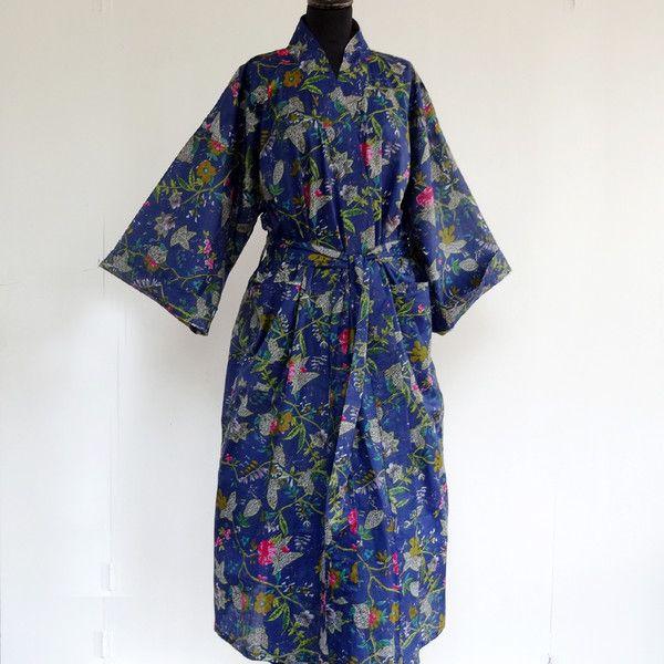 marine blau Bademantel Kimono Blume Drucken Baumwolle.    stilvolle komfortabel, Wickelkleid Bademantel, Bademantel mit 2 Päckchen, passender Gürtel  Farbe; marine blau und multifarbe  Material...