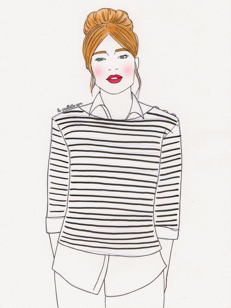 illustration painting sketch pretty girl marinière