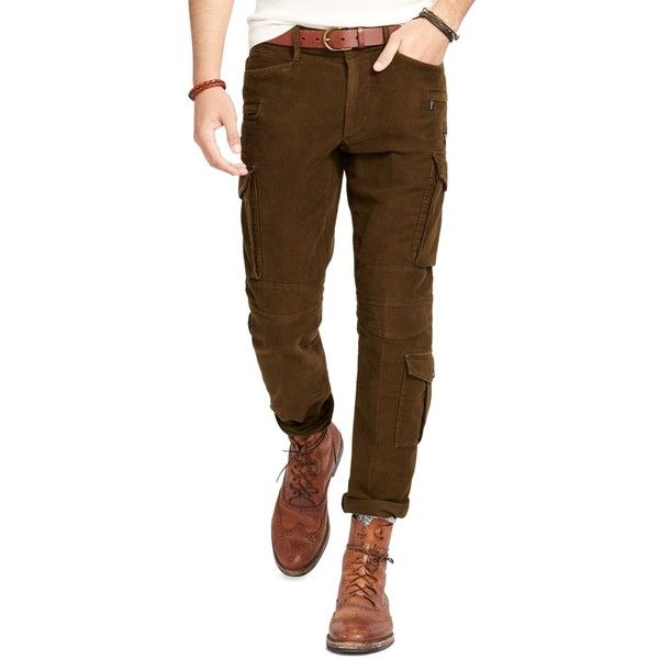 Polo Ralph Lauren Moleskin Slim Fit Cargo Pants ($225) ❤ liked on Polyvore featuring men's fashion, men's clothing, men's pants, men's casual pants, hunter oli, mens slim fit cargo pants, mens cargo pants, men's 5 pocket pants, mens slim pants and mens moleskin pants