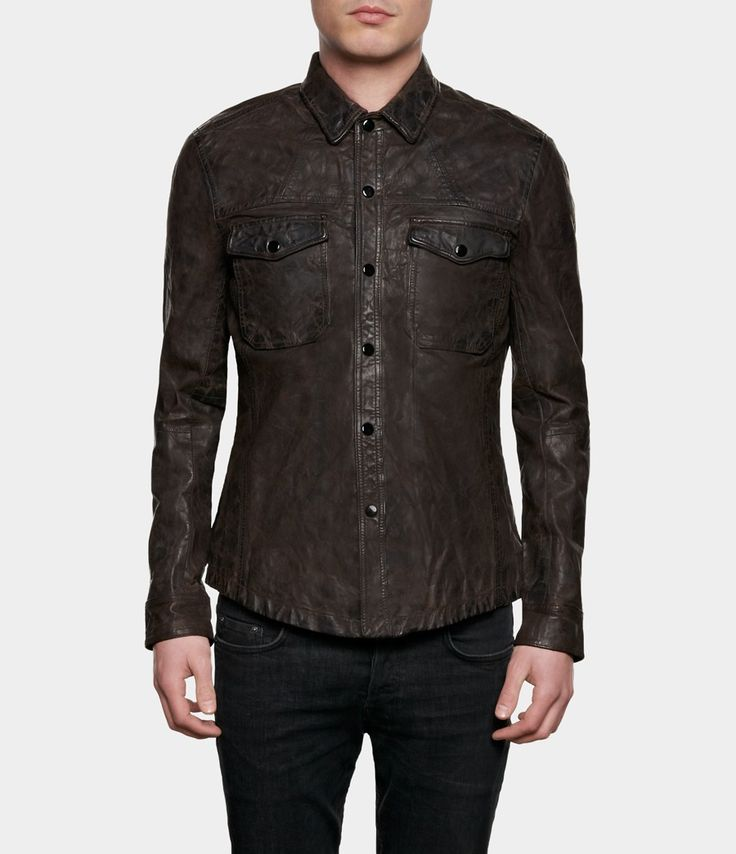 Chibs : AllSaints Ruin Leather Shirt | Mens Leather Shirts