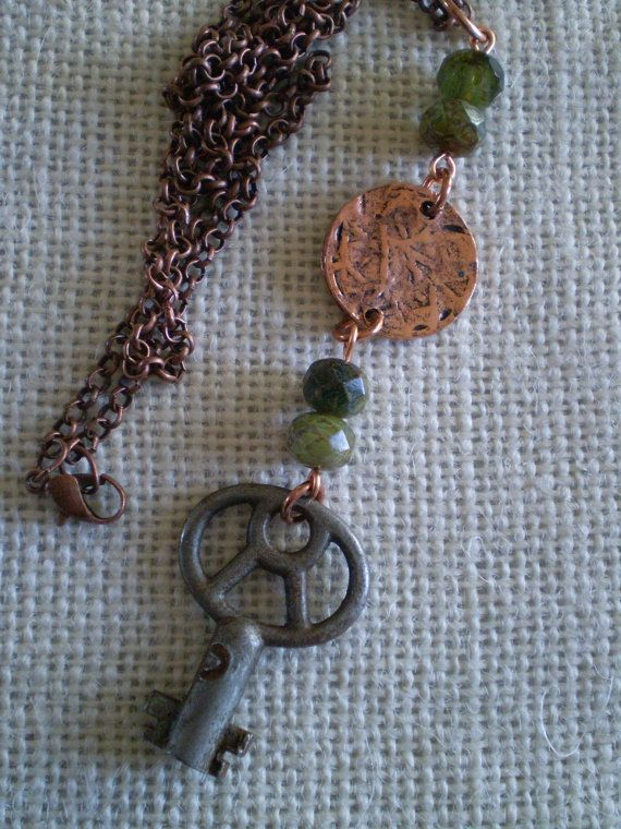 Check out this item in my Etsy shop https://www.etsy.com/listing/215766263/vintage-skeleton-key-necklace-with-green