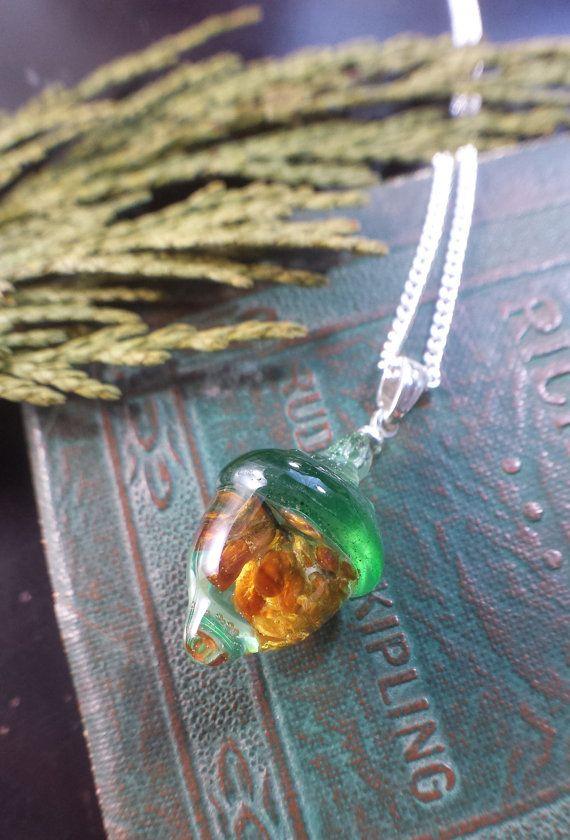 Wild Fern Art Handmade Tiny Resin Acorn Necklace by WildFernArt