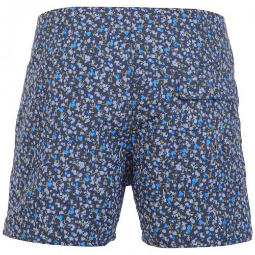 BLUE NYLON SWIM SHORTS WITH FLORAL PRINT Blue nylon swim shorts with floral print. Fixed waist with drawstring and Velcro closure Back snap-button pocket. Inside lining. Saturdays Surf NYC label stitched on hem. COMPOSITION: 100% NYLON. Model wears size 32, he is 189 cm tall and weighs 86 Kg.