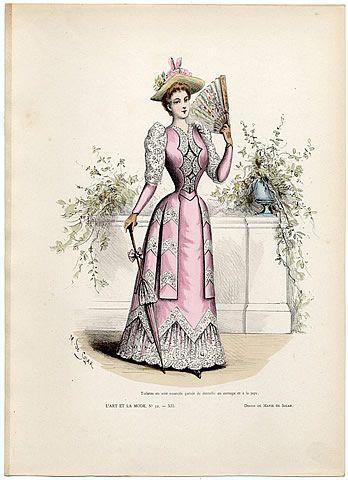 L'Art et la Mode 1891 N°32 Marie de Solar, hand colored fashion plate
